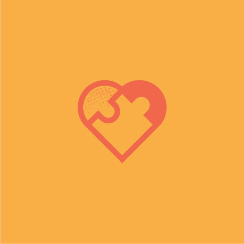 red heart logo on a yellow background