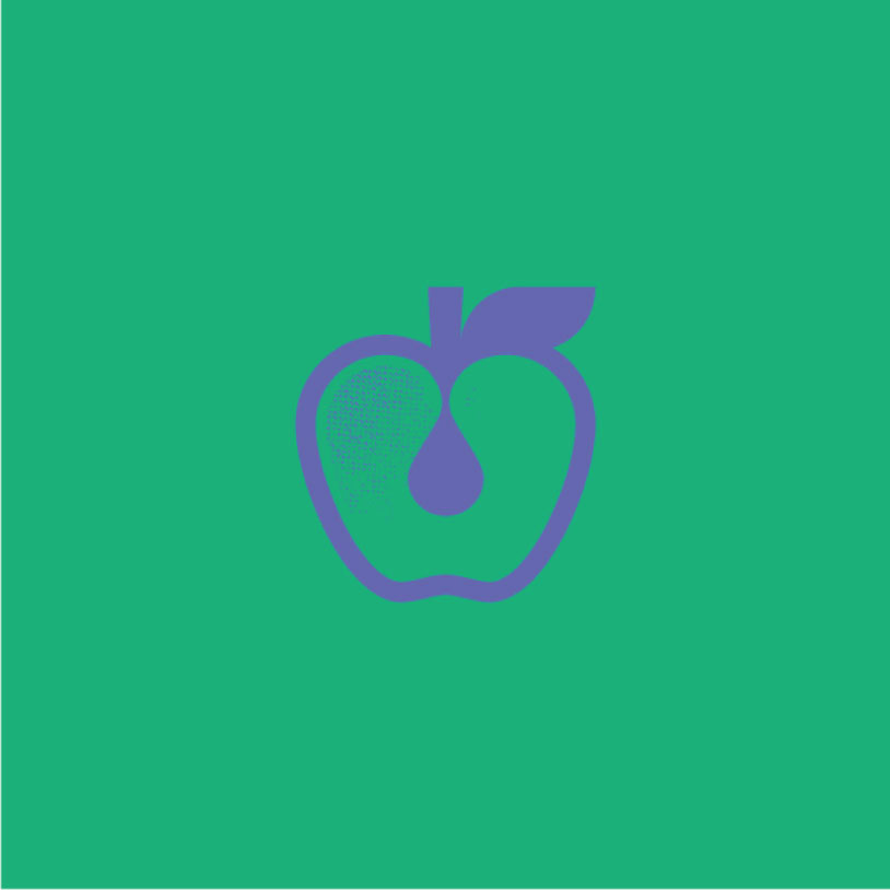 purple apple logo on green background